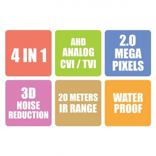 ZEB-AHF2PB18L20M - 4 in 1 Plastic Bullet Camera
